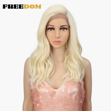 FREEDOM Synthetic Lace Front Wig 20 Inche Body Wave Ombre Blond 613 Asymmetry Wigs For Black Women Heat Resistant Fashion on INS
