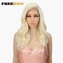 FREEDOM peluca con malla frontal sintética para mujer postizo de 20 pulgadas, Rubio degradado, asimétrico, resistente al calor, 613