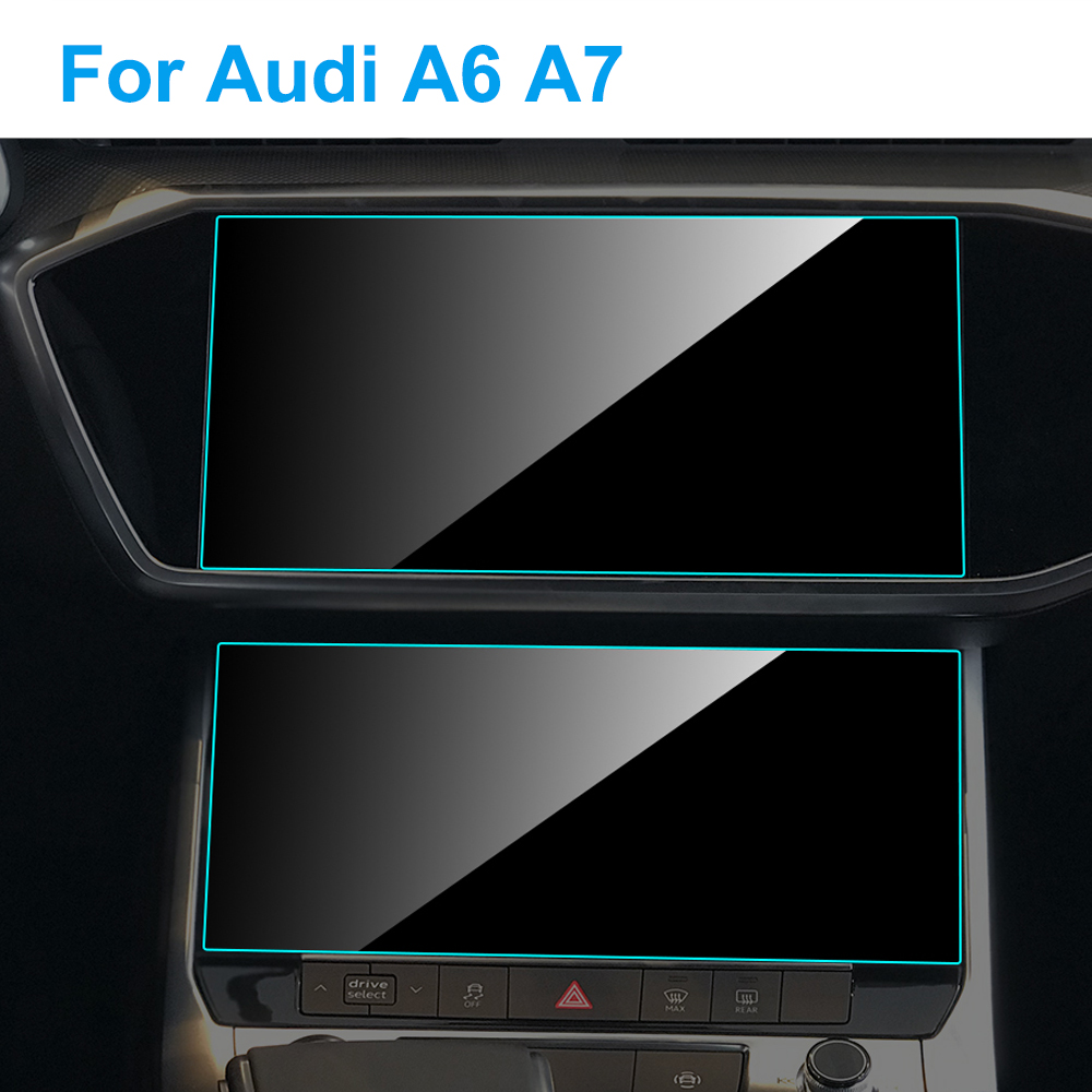 2pcs Car GPS Navigation Screen Protector for <font><b>Audi</b></font> <font><b>A6</b></font> A7 <font><b>2019</b></font> 2020 Auto Interior Screen Protect Tempered Glass Film Accessories image
