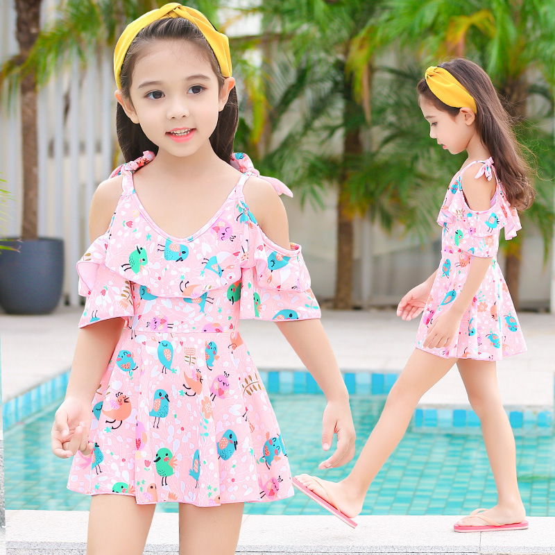 Children Dress-Bathing Suit GIRL'S Princess Baby Big Boy South Korea Swimwear Students Cute Tour Bathing Suit