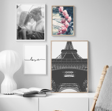 Pink Flower Paris Tower Lovers Love Quote Wall Art Canvas Painting Nordic Posters And Prints Pictures For Living Room Decor
