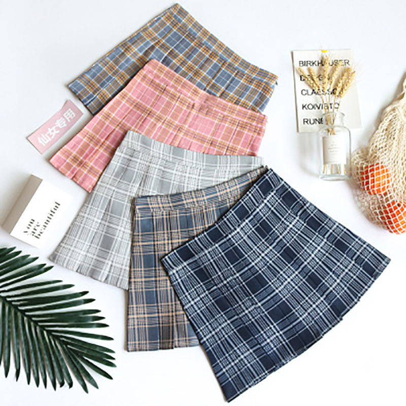 BEFORW Preppy Japanese Korea Short Skirts 2020 New High Waist Mini Womens Skirts Kawaii Pink Plaid Pleated Tennis Casual Skirt