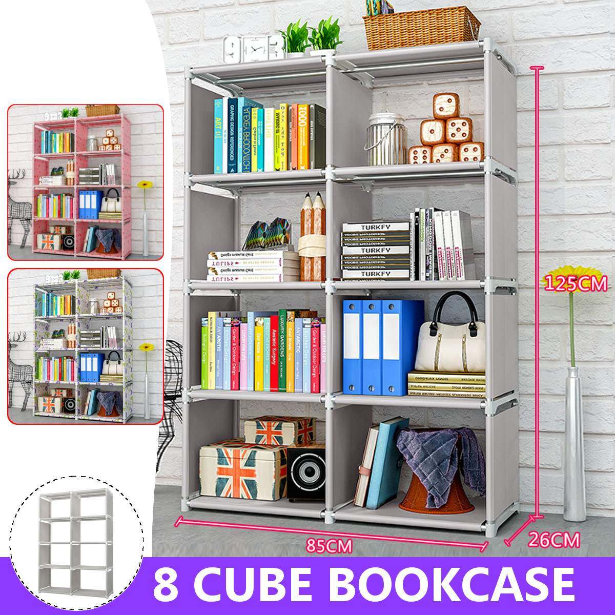 125cm Double Rows 8 Cube Decorative Display Stand Toys Storage Shelf Rack Bookcase Cabinet Organizer Bookshelf Book Display Unit