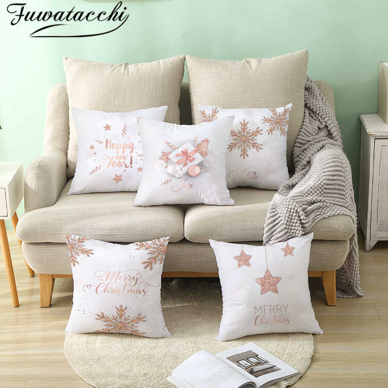 Fuwatacchi White Snow Pillow Covers New Year Gift Cushion Cover for Home Sofa Decorative Christmas Throw Pillowcases 45*45cm