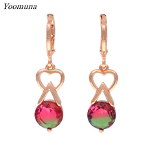 цена на New Water Drop Tourmaline Color Earrings Women Cute Wedding Party Fine Jewelry 585 Rose Gold Natural zirconia Dangle Earrings