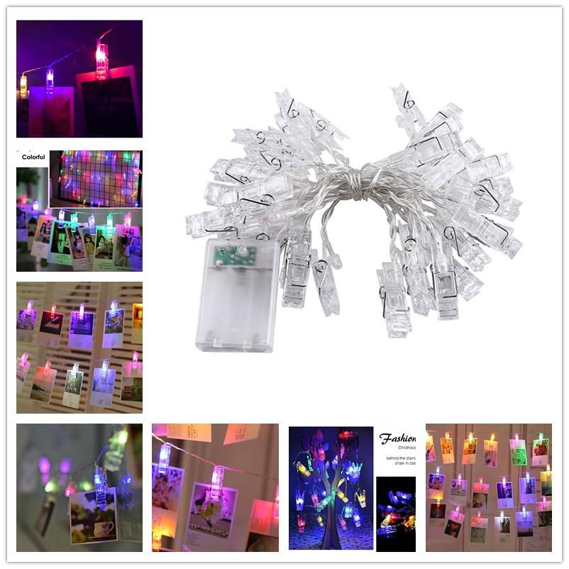 HiMISS Colourful 3M 20 LED Photo Clip String Lights Night Lamp Hanging Pendant Festivals Garden Party Yard Decoration