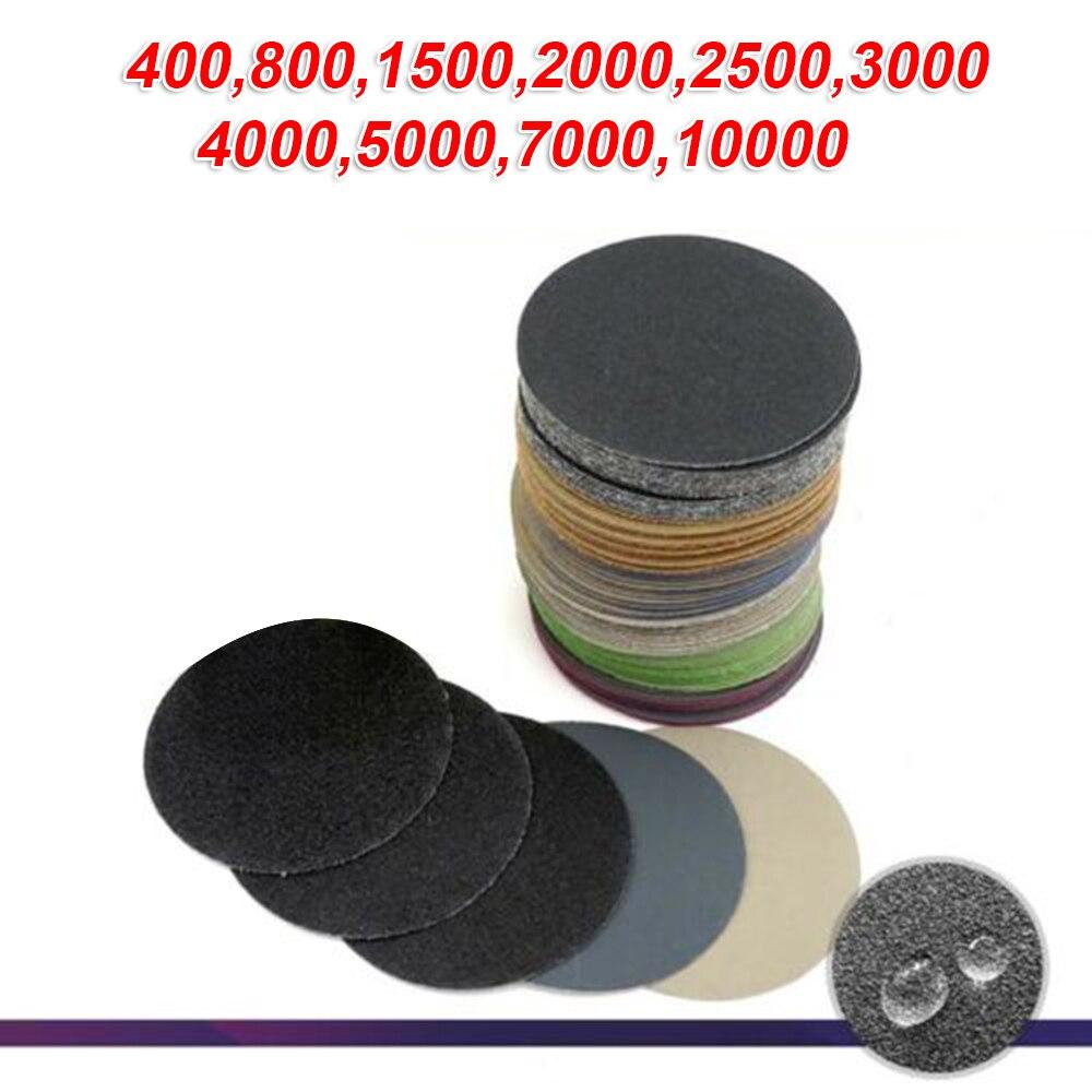 50Pcs 3 Inch Sanding Disc 75mm Wet & Dry Flocking Sandpaper 400-10000 Grit For Grinding And Polishing