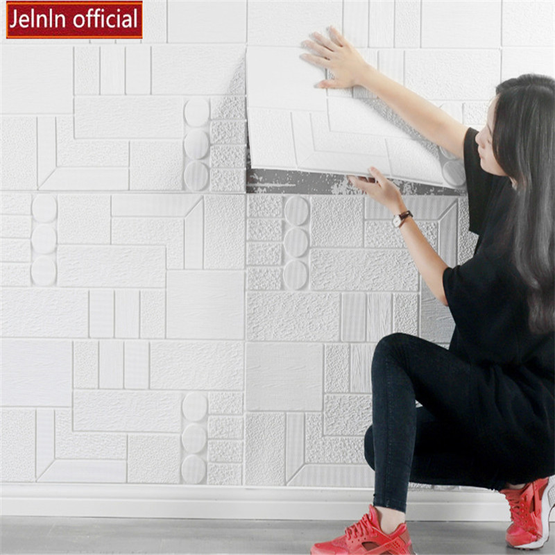 Rond rectangle motif 3D PE mousse stickers muraux salon chambre maternelle bureau restaurant boutique doux paquet papier peint