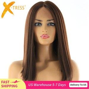 Парик из синтетических волос средней длины, фронтальные парики из высокотемпературного волокна, прямые короткие, с бобтом, средней частью