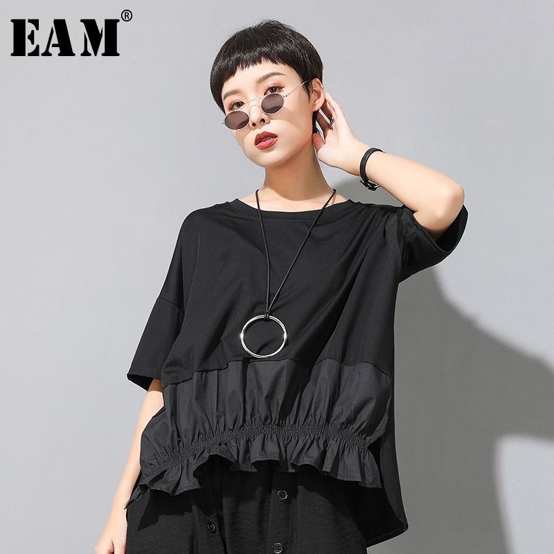 [EAM] Women Black Ruffles Split Irregular Big Size T-shirt New Round Neck Half Sleeve  Fashion Tide  Spring Summer 2020 1U806 1
