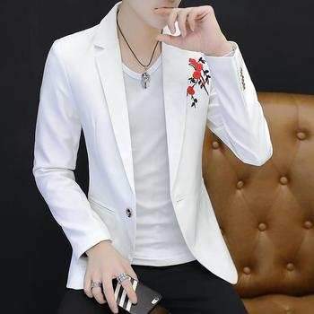 Mens Blazer Jacket Embroidered Flower Men Slim fit Suits for Coats Black White Wine red Army green