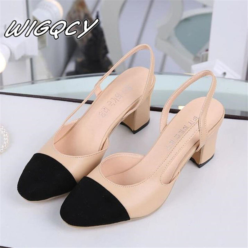 2019 Hot Sale Summer Women Shoes Dress Shoes Mid Heel Square Head Fashion Shoes Wedding Party Sandals Casual Shoes Women