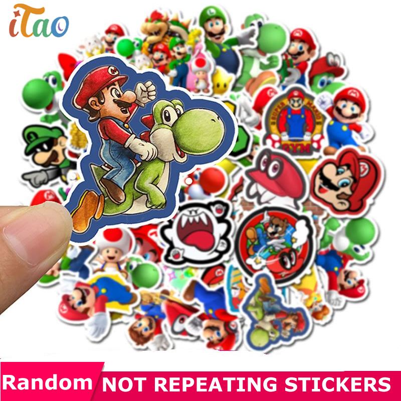 10/20/30/40/50PCS Cartoon Super Mario Stickers Waterproof PVC Laptop Motorcycle Car Skateboard Snowboard Guitar Kids Toy Sticker