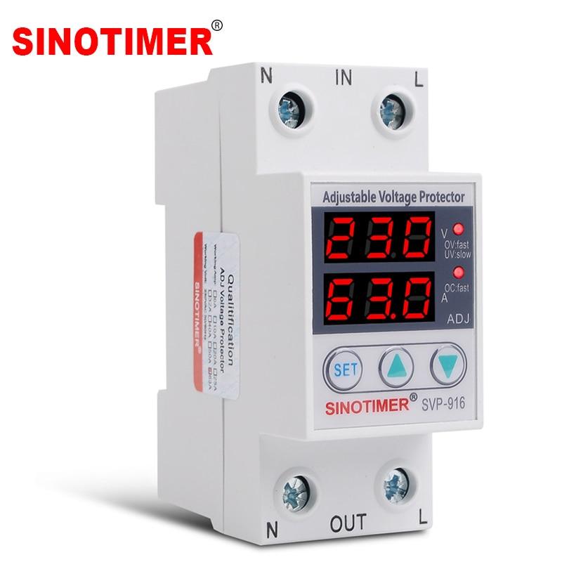Ajustez le contrôle de relais de tension sur le protecteur de sous-tension 220V 63A 40A dispositifs de Protection de surtension et de surintensité Din Rail