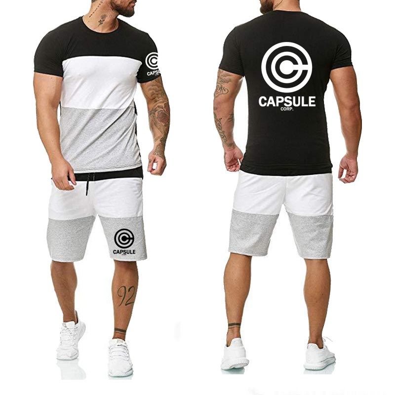 Summer Anime The Dragon Ball Z CAPSULE CORP Logo Printing Casual Colorblock Round Neck Cotton Men's T-shirt+shorts Suit 2pcs