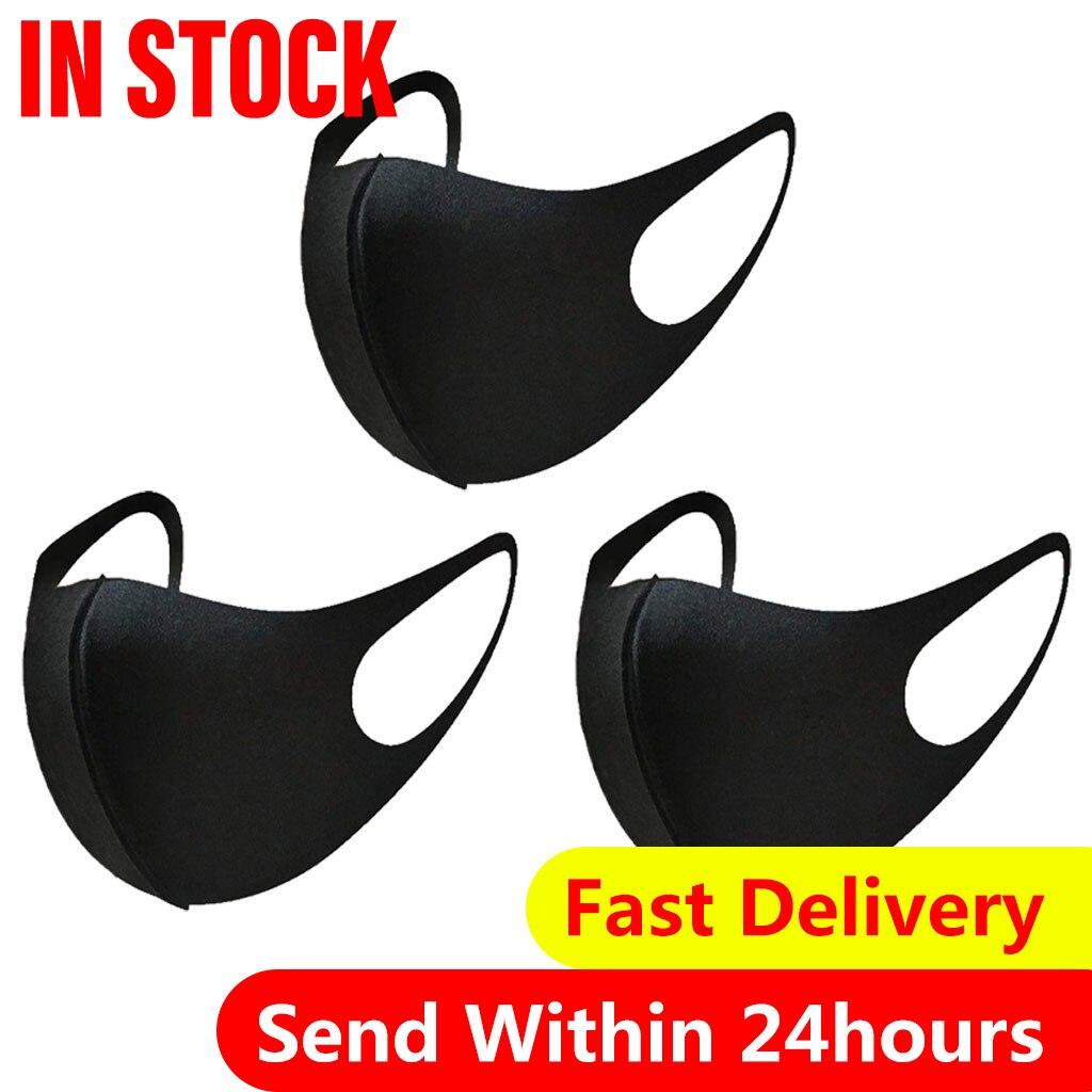 3 шт. классические черные маски для лица для взрослых дышащая моющаяся Тканевая маска модные маски с принтом женская Крышка для рта Cubrebocas|Маски|   | АлиЭкспресс