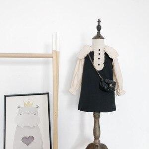 Осень 2020, Новое поступление, платье принцессы с длинным рукавом для девочек, детское твидовое платье с бантом