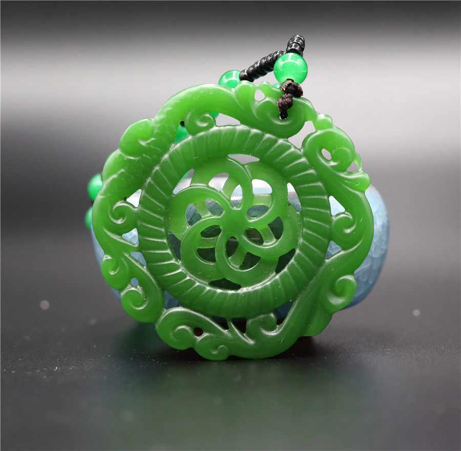 自然の緑のヒスイ風車ペンダントネックレスジュエリーアクセサリー彫刻瞑想リラックス治癒女性男性ギフト送料ロープ