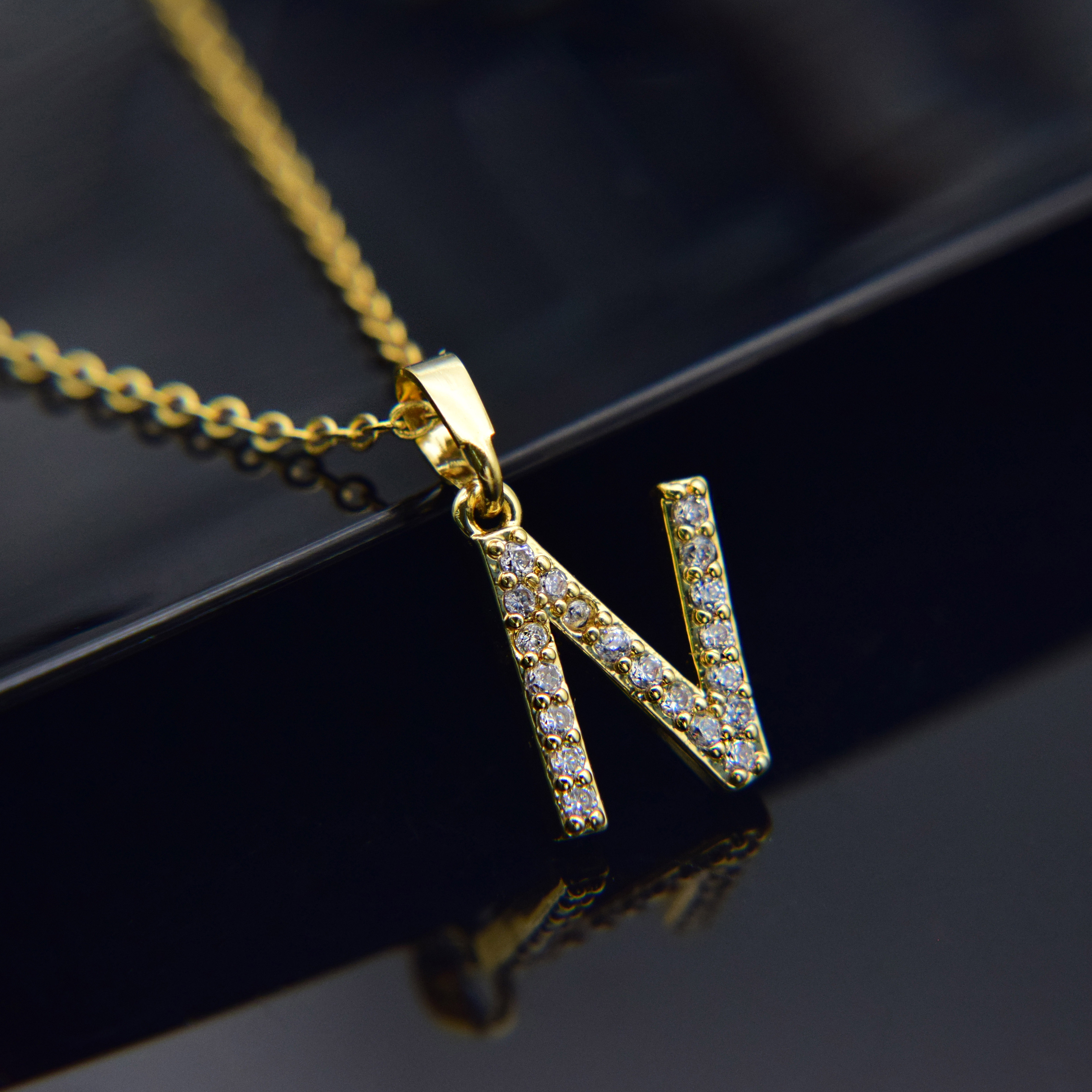 Cubic Zircon Alphabet Pendants Gold Silver Color Copper Mini A-Z Letter Pendant Necklace Shinning 26 Initial Collares Jewelry 2