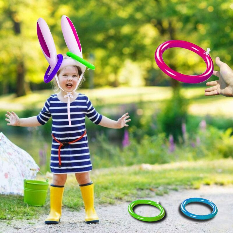 Inflatable Easter Bunny Rabbit Ears Hat Ring Toss Easter Kids Game Toy Gift Dropshipping Juguetes Kids Toys игрушки антистресс