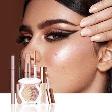 O.TWO.O 5 pçs conjunto de maquiagem dos olhos incluem sobrancelha rímel delineador cobertura completa corretivo líquido uso highlighter como sombra