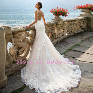 Image 3 - Robe de Mariage 2020 See Through Back Luxury Mermaid Wedding Dresses China Sleeveless Vestidos de Novia Vintage Tulle Trouwjurk