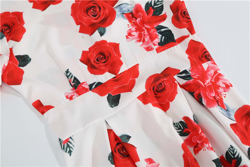 Summer Floral Print Elegant A-line Party Dress Women Slim White Short Sleeve Swing Pin up Vintage Dresses Plus Size Robe Femme 67