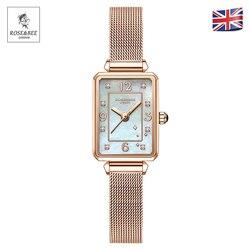 Retro Witte Schelp Wijzerplaat Rechthoek Diamanten Japan Quartz Dames Rvs Mesh Waterdichte Schulp Vrouwen Rhinestones Horloges