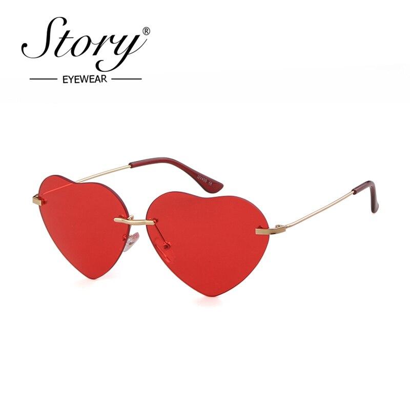 STORY Fashion Lover Heart Sunglasses Women Men 2019 Brand Designer cat eye Love Frameless Sun glasses 90S shades female S879
