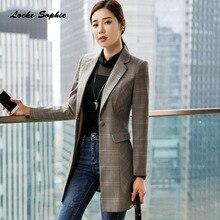 1pcs Womens Plus size Long Blazers coats 2019 Autumn cotton blend Slim fit Small Suits jackets ladies Skinny