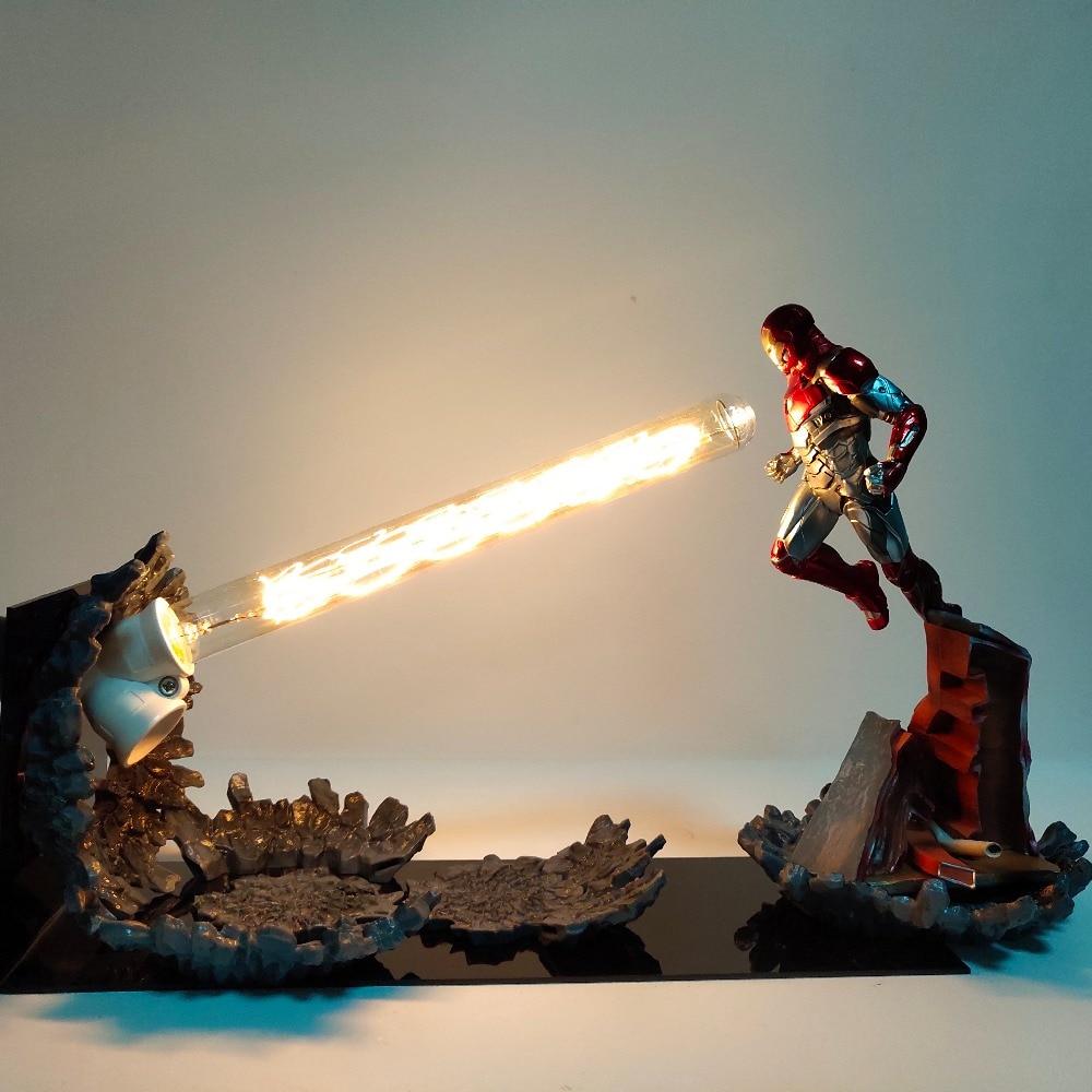 Avengers Iron Man MK47 canon Laser LED veilleuse lampe de chevet figurines animé décor à la maison chambre éclairage créatif