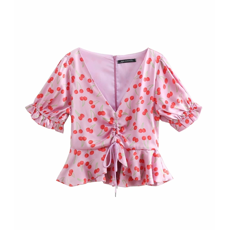 women sweet v neck cherry print hem fishtail short smock blouse shirt women pleated ruffles blusas casual drawstring tops LS3119