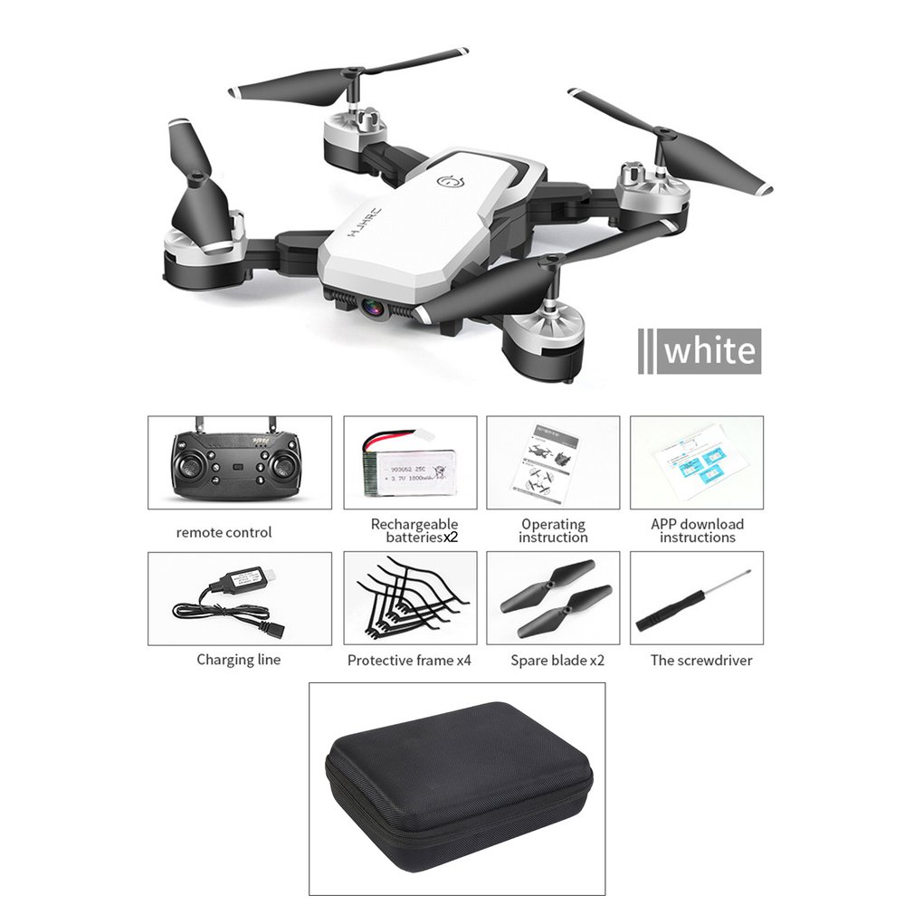 HJ28-1 Foldable 5MP Camera RC Drone Wifi FPV Altitude Hold Gesture Photo video RC Quadcopter with Storage Bag  amp  2PCS Batteries