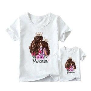 Image 2 - 2020 moda mãe filha roupas combinando casual princesa imprimir família t camisa combinando mãe filha roupas femininas tshirt