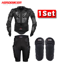 HEROBIKER Motorcycle Body Armor Protective Jacket+Gears Shorts Pants+Protection Knee Pad Black Jacket