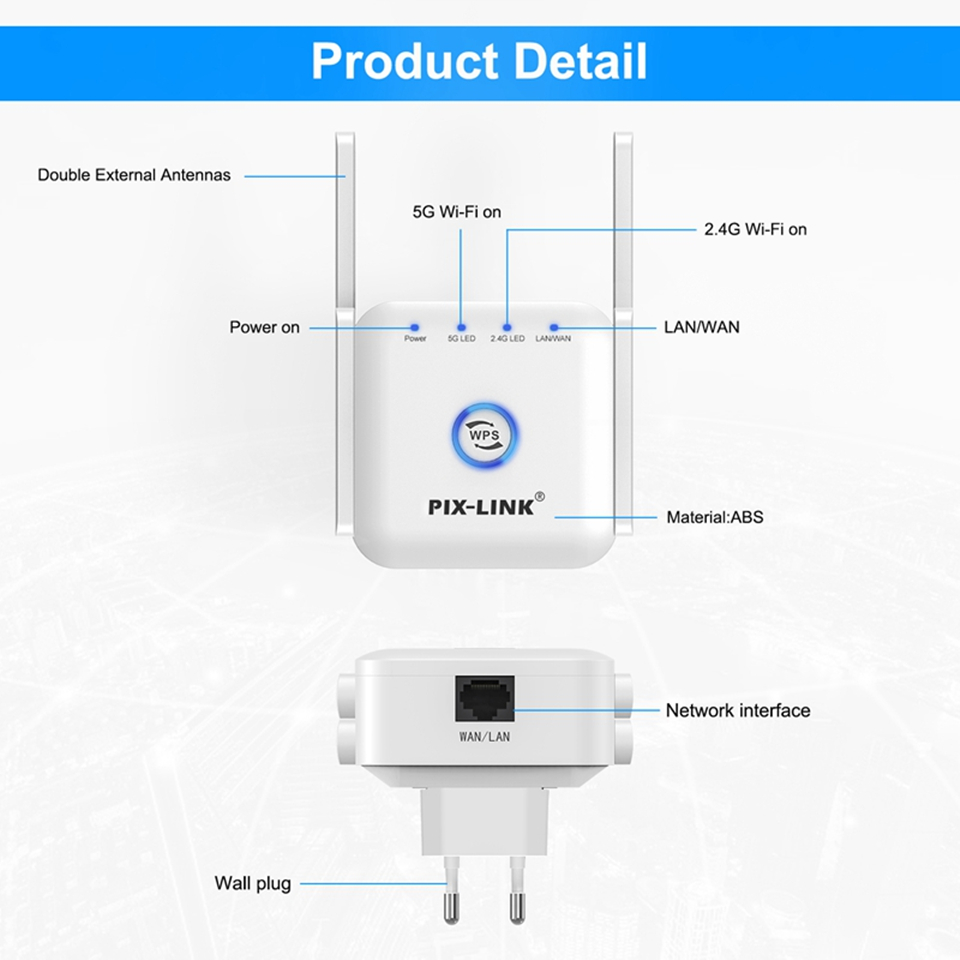 5G Wifi Repeater Wifi Extender 5ghz Wifi Amplifier 5 ghz Wireless Repeater Router Wi fi Booster 2.4G 5G Wi-Fi Signal Extender 5