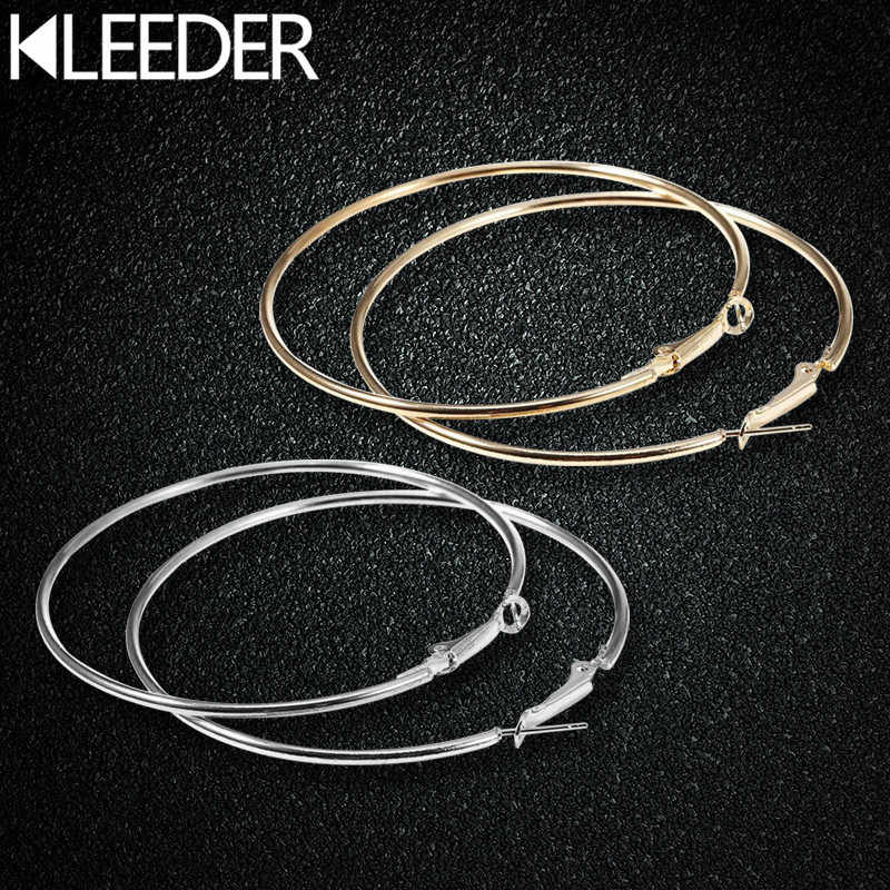 KLEEDER Big 6cm Hoop Earrings Sliver Gold Color Metal Punk Round Circles Earring for Women Girls Party Fashion Jewelry brincos