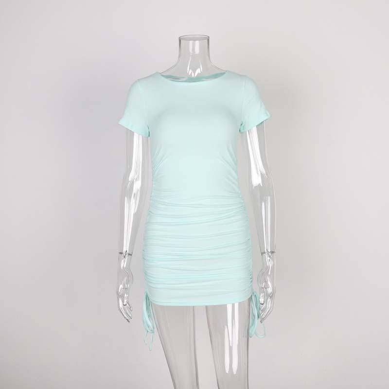 Ladies ribbed drawstring dress bodycon round neck short-sleeve sexy T-shirt dresses WL88 9