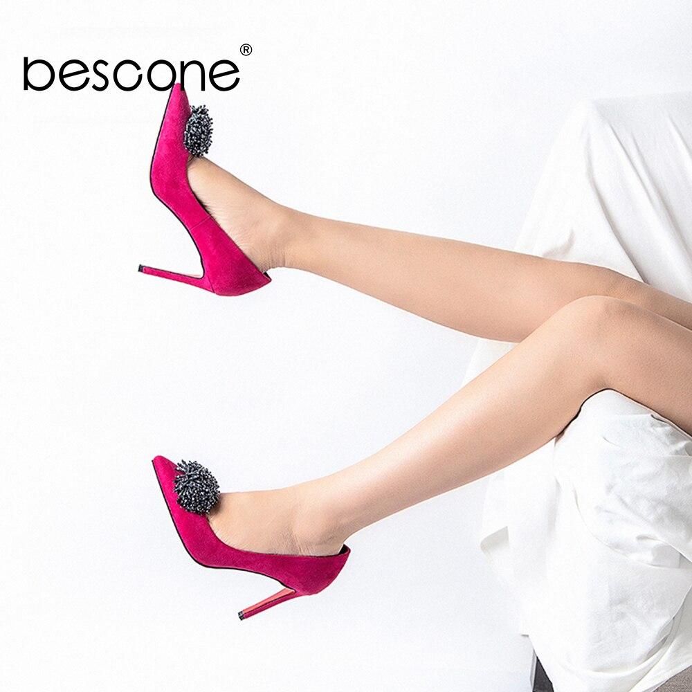 BESCONE dames pompes sans lacet confortable robe peu profonde chaussures à talons fins nouveau fait à la main en microfibre Super haut talon femmes pompes BY110
