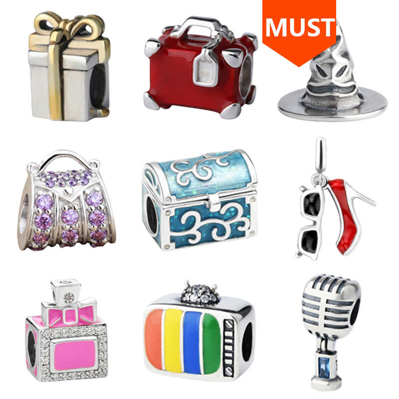 SG 925 srebrny koralik buty perfumy butelka torebka pudełko kapelusz TV mike charms fit bransoletka pandora dla kobiet biżuteria