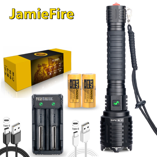 [ JamieFire LED]Flashlight Powerful Flash Light Brightest Lantern Zoomable USB Rechargeable Tactical Hunting Torch 100000 lumen 6