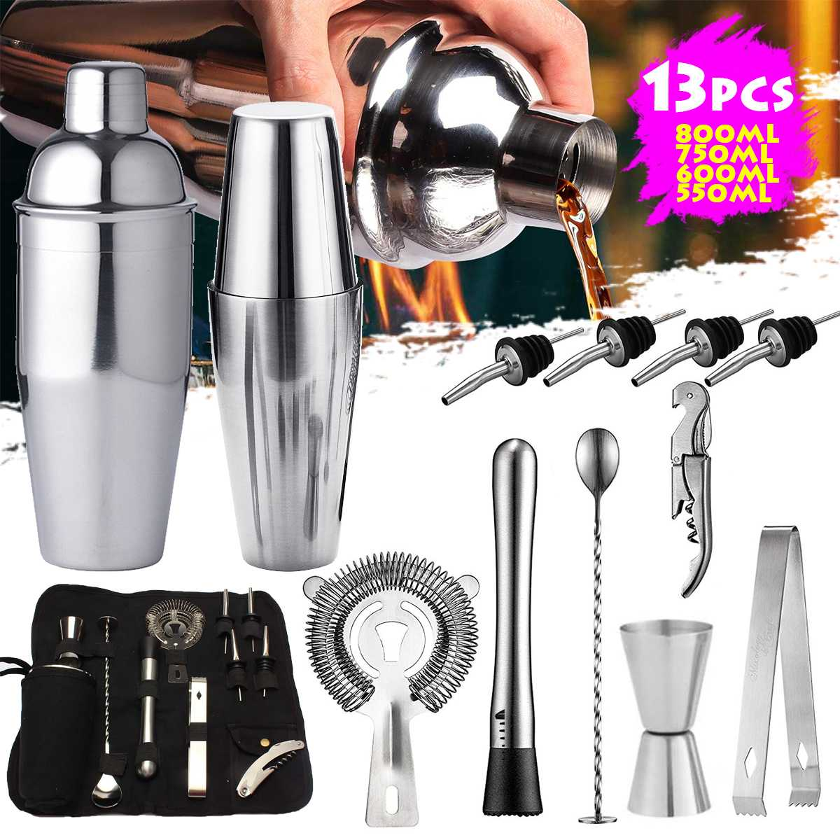 1 Set American Style /British Cocktail Shaker Set Maker Mixer Stainless Steel Professional Cocktail Drink Bartending Tools Bar