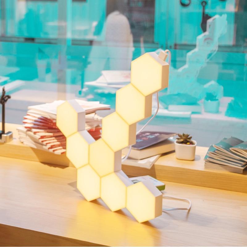 2019 New LED Quantum Lamp 5V DIY LED Night Light Creative Geometry Assembly Smart APP Control With Amazon Alexa Smart Lamp
