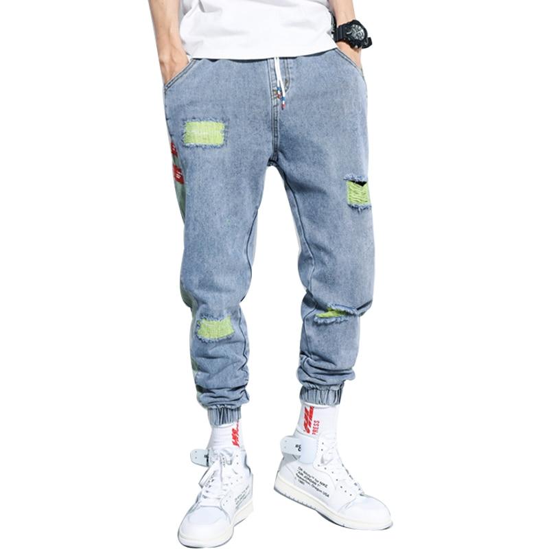 IiDossan 2020 Hole Jeans Men Regular Fashion HipHop Pants Casual Harem Jeans Streetwear Denim Men Pleated Trousers Slouchy Jeans