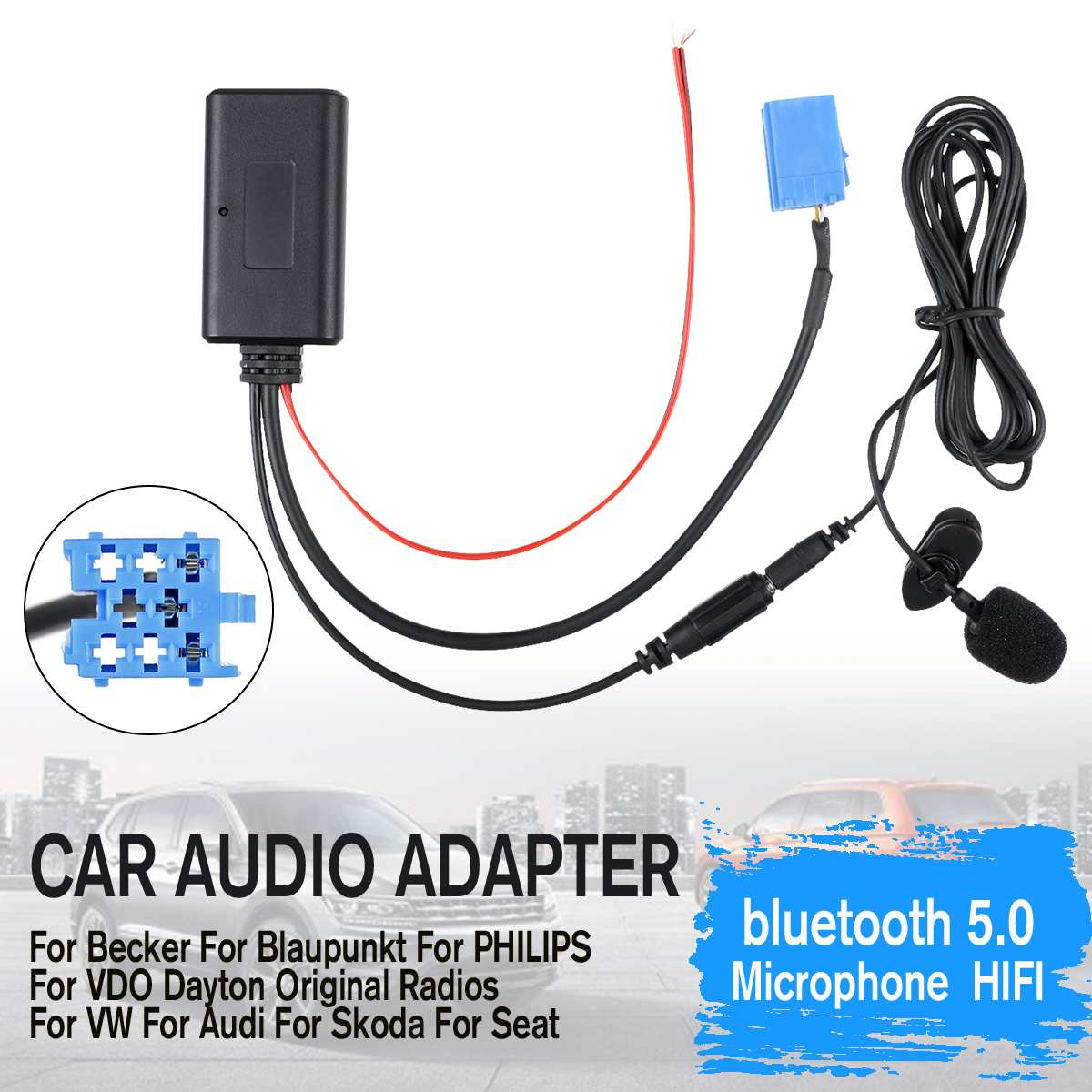 Car Audio Bluetooth Wireless Cable Adapter Microphone MIC AUX Music Player For Becker For VW For Audi