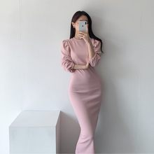 JXMYY 2020 new chic minimalist fashion temperament round neck waist slim slimming long sleeves back split hip dress female