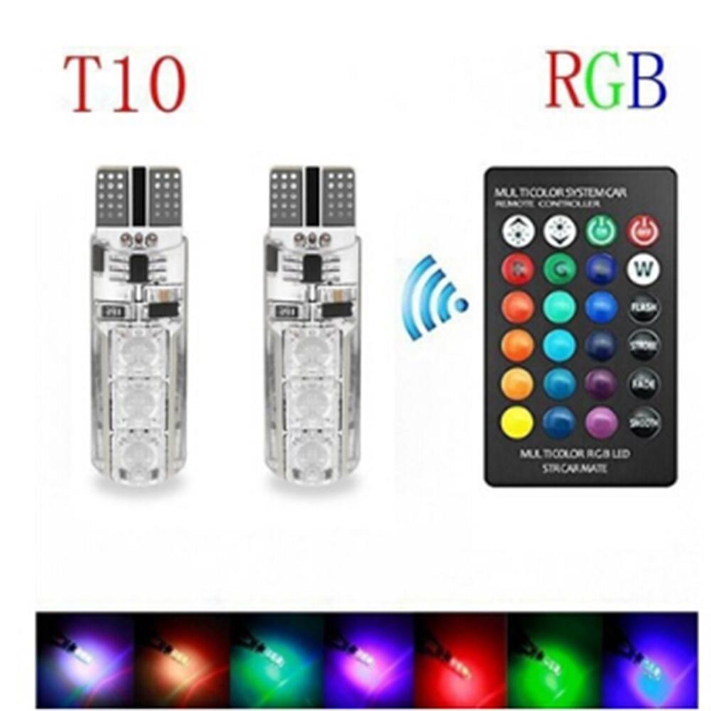 2pcs RGB T10 W5W Led 194 168 5050 SMD Car Dome Reading Light Strobe Led Wedge Lamp RGB LED Bulb With Remote Control Car Styling