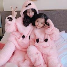 Зимняя Пижама «Мама и я» пижама с капюшоном для родителей детей