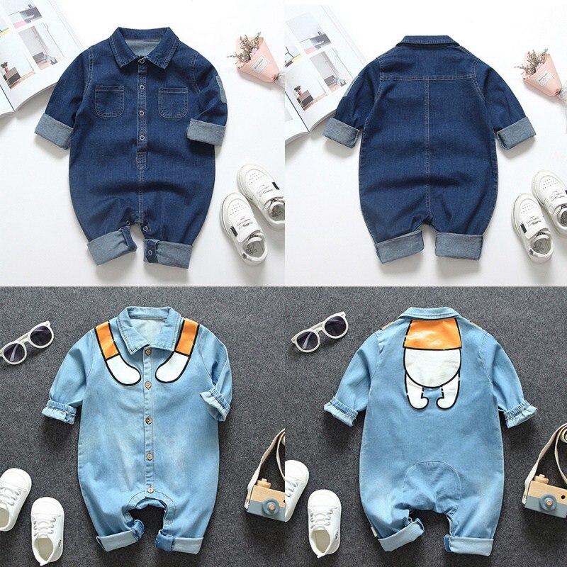 ZL noworodek niemowlęcy solidny kombinezon z nadrukiem z długim rękawem dla niemowląt chłopcy Casual Denim Romper body stroje