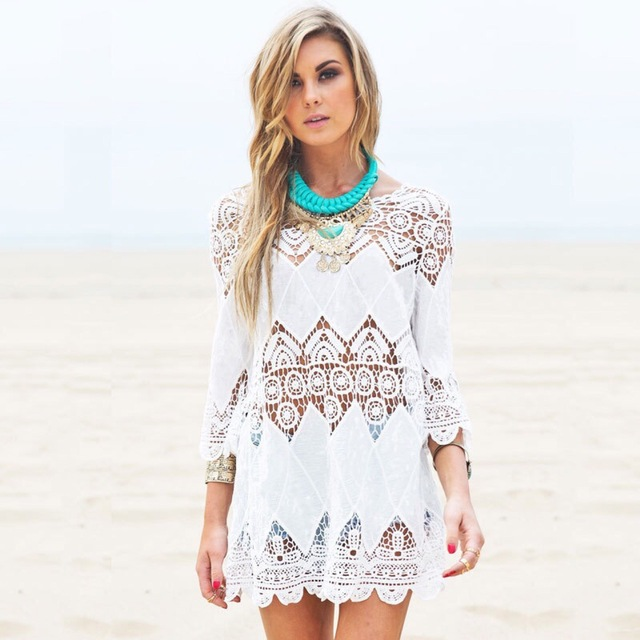 Women's Clothing Beachwear Mid-length Porous Crochet Knit Overclothes Bikini Swimsuit Outdoor Blouse 2
